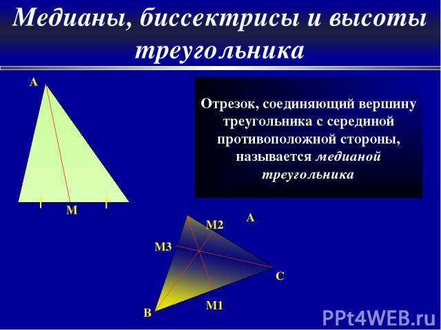 A M Отрезок, соединяющий вершину треугольника с серединой противоположной стороны, называется медианой треугольника A C M2 B M1 M3