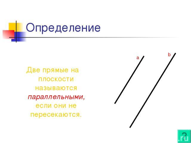 Определение Две прямые на плоскости называются параллельными, если они не пересекаются. a b