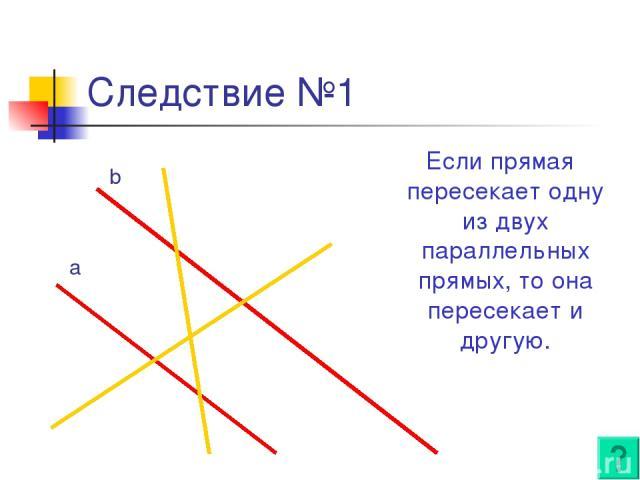 Следствие №1 Если прямая пересекает одну из двух параллельных прямых, то она пересекает и другую. a b
