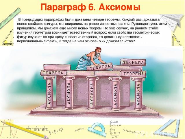 Параграф 6. Аксиомы В предыдущих параграфах были доказаны четыре теоремы. Каждый раз, доказывая новое свойство фигуры, мы опирались на ранее известные факты. Руководствуясь этим принципом, мы докажем еще много новых теорем. Но уже сейчас, на раннем …