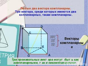 Любые два вектора компланарны. Три вектора, среди которых имеются два коллинеарн