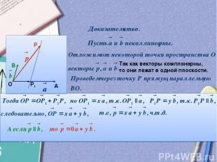 О А В Р Р1 Так как векторы компланарны, то они лежат в одной плоскости.