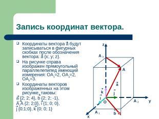 Запись координат вектора. Координаты вектора а будут записываться в фигурных ско