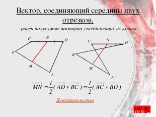 Вектор, соединяющий середины двух отрезков, С A B D M N С A B D M N Доказательст