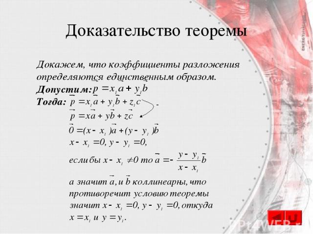 Доказательство теоремы Докажем, что коэффициенты разложения определяются единственным образом. Допустим: Тогда: -