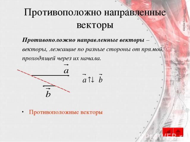 Противоположно направленные векторы Противоположно направленные векторы – векторы, лежащие по разные стороны от прямой, проходящей через их начала. Противоположные векторы