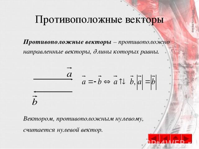 Противоположные векторы Противоположные векторы – противоположно направленные векторы, длины которых равны. Вектором, противоположным нулевому, считается нулевой вектор.