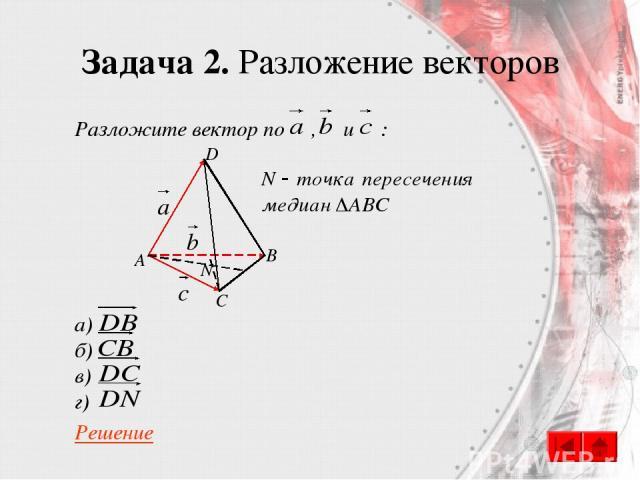 Задача 2. Разложение векторов Разложите вектор по , и : а) б) в) г) Решение A B C D N
