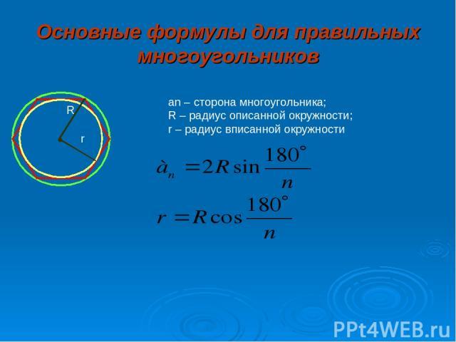 Основные формулы для правильных многоугольников R r an – сторона многоугольника; R – радиус описанной окружности; r – радиус вписанной окружности