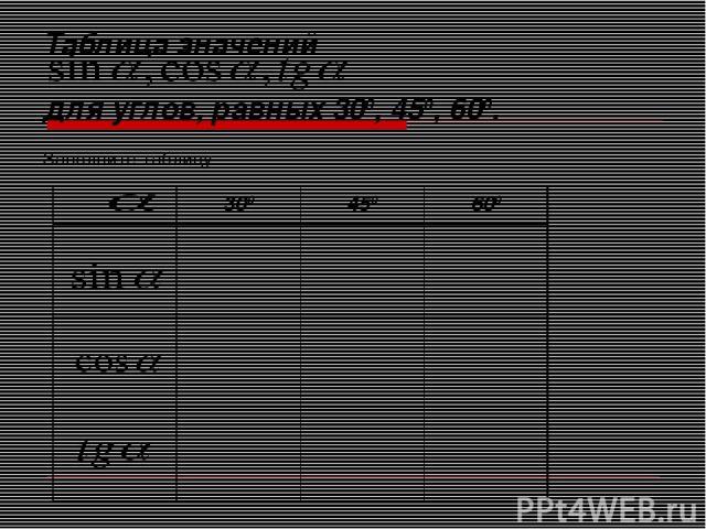 Таблица значений для углов, равных 300, 450, 600. Заполните таблицу 300 450 600