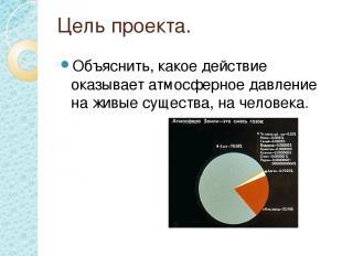 Цель проекта. Объяснить, какое действие оказывает атмосферное давление на живые