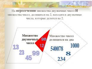 На пересечении множества двузначных чисел И множества чисел, делящихся на 2, нах