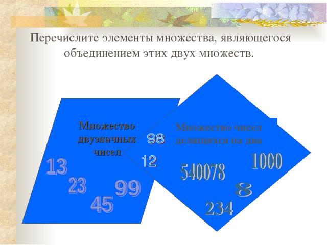 Перечислите элементы множества, являющегося объединением этих двух множеств.