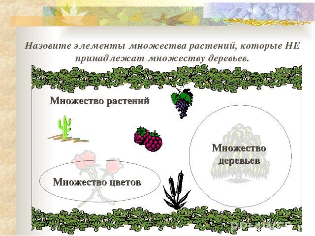Назовите элементы множества растений, которые НЕ принадлежат множеству деревьев. Множество растений
