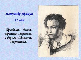 Александр Пушкин 11 лет Прозвища – Егоза, Француз, Стрекоза, Сверчок, Обезьяна,