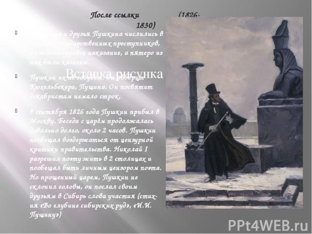 После ссылки (1826-1830) Знакомые и друзья Пушкина числились в списках государственных преступников, их ждало суровое наказание, а пятеро из них были казнены. Пушкин их не забудет. Он ободрит Кюхельбекера, Пущина. Он посвятит декабристам немало стро…
