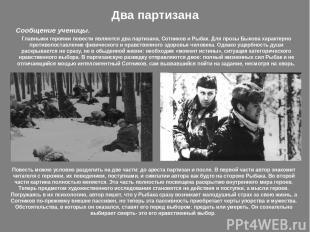 Два партизана Повесть можно условно разделить на две части: до ареста партизан и
