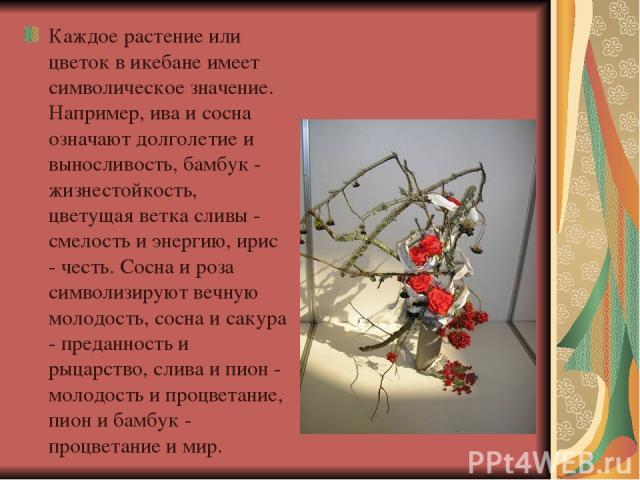 Каждое растение или цветок в икебане имеет символическое значение. Например, ива и сосна означают долголетие и выносливость, бамбук - жизнестойкость, цветущая ветка сливы - смелость и энергию, ирис - честь. Сосна и роза символизируют вечную молодост…