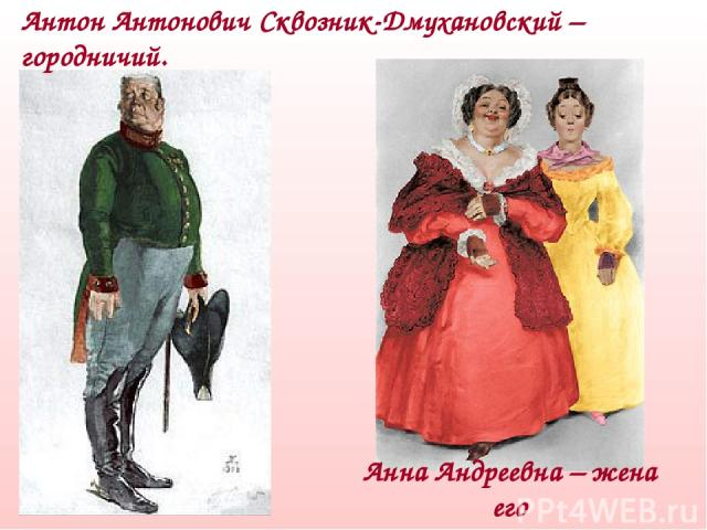 Антон Антонович Сквозник-Дмухановский – городничий. Анна Андреевна – жена его