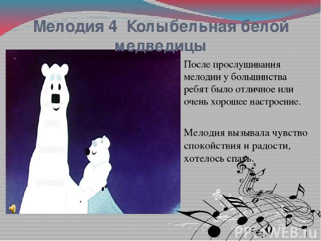 Мелодия 4 Колыбельная белой медведицы После прослушивания мелодии у большинства ребят было отличное или очень хорошее настроение. Мелодия вызывала чувство спокойствия и радости, хотелось спать.