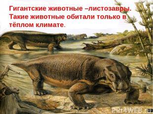 Гигантские животные –листозавры. Такие животные обитали только в тёплом климате.