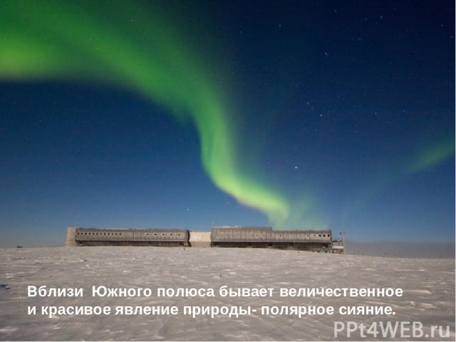 Вблизи Южного полюса бывает величественное и красивое явление природы- полярное сияние.