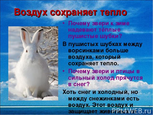 Воздух сохраняет тепло Почему звери к зиме надевают тёплые пушистые шубки? В пушистых шубках между ворсинками больше воздуха, который сохраняет тепло. Почему звери и птицы в сильный холод прячутся в снег? Хоть снег и холодный, но между снежинками ес…