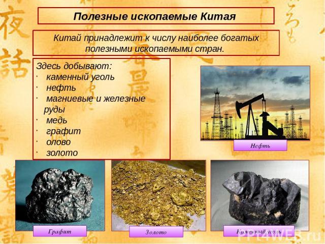 Полезные ископаемые Китая Китай принадлежит к числу наиболее богатых полезными ископаемыми стран. Здесь добывают: каменный уголь нефть магниевые и железные руды медь графит олово золото Графит Каменный уголь Нефть Золото