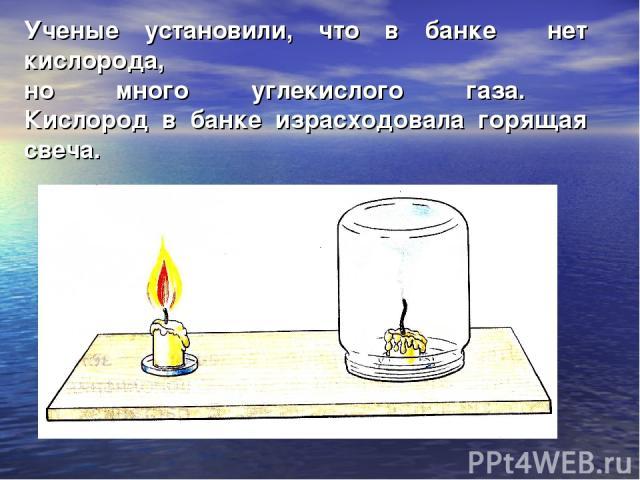 Ученые установили, что в банке нет кислорода, но много углекислого газа. Кислород в банке израсходовала горящая свеча.