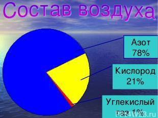 Азот 78% Углекислый газ 1% Кислород 21%