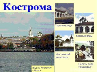 Вид на Кострому с Волги Торговые ряды Красные ряды Ипатьевский монастырь Палаты