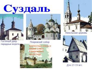 Гостиный двор парадные ворота Никольская церковь Покровский собор Крепостные сте