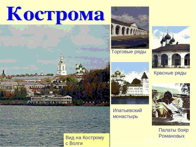 Вид на Кострому с Волги Торговые ряды Красные ряды Ипатьевский монастырь Палаты бояр Романовых