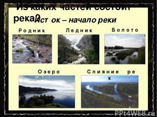 Из каких частей состоит река? Исток – начало реки Р о д н и к Л е д н и к Б о л
