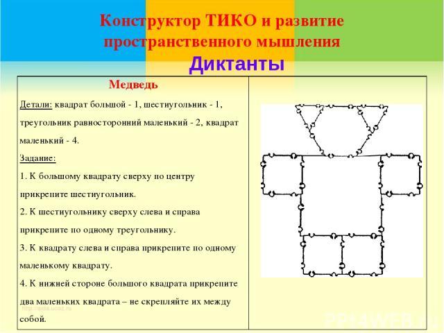 Конструктор ТИКО и развитие пространственного мышления Диктанты Медведь Детали: квадрат большой - 1, шестиугольник - 1, треугольник равносторонний маленький - 2, квадрат маленький - 4. Задание: 1. К большому квадрату сверху по центру прикрепите шест…