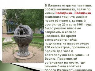 В Ижевске открыли памятник собаке-космонавту, лайке по имени Звёздочка. Звёздочк