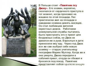В Польше стоит «Памятник псу Джоку». Его хозяин, вероятно, скончался от сердечно