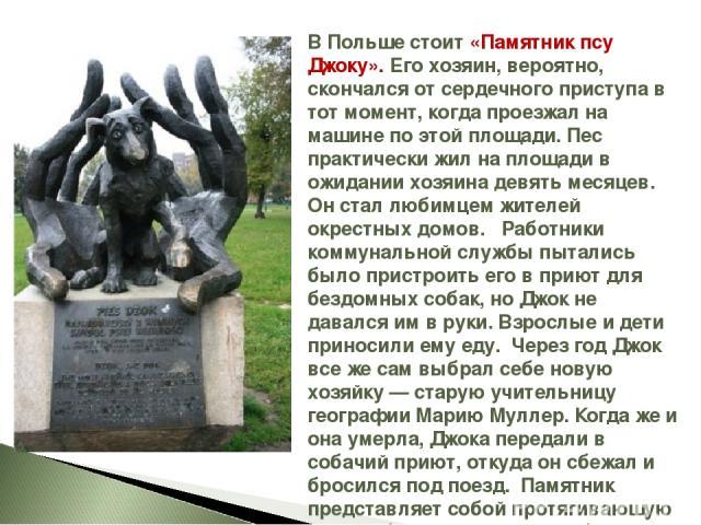 В Польше стоит «Памятник псу Джоку». Его хозяин, вероятно, скончался от сердечного приступа в тот момент, когда проезжал на машине по этой площади. Пес практически жил на площади в ожидании хозяина девять месяцев. Он стал любимцем жителей окрестных …