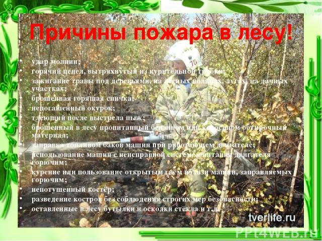Причины пожара в лесу! удар молнии; горячий пепел, вытряхнутый из курительной трубки; зажигание травы под деревьями, на лесных полянах, лугах, на дачных участках; брошенная горящая спичка; непогашенный окурок; тлеющий после выстрела пыж; брошенный в…