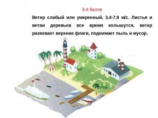 3-4 балла Ветер слабый или умеренный, 3,4-7,9 м/с. Листья и ветви деревьев все в