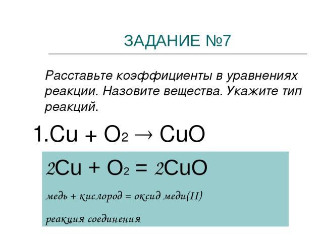 ЗАДАНИЕ №7 Расставьте коэффициенты в уравнениях реакции. Назовите вещества. Укажите тип реакций. 1.Cu + O2 CuО 2Cu + O2 = 2CuO медь + кислород = оксид меди(II) реакция соединения