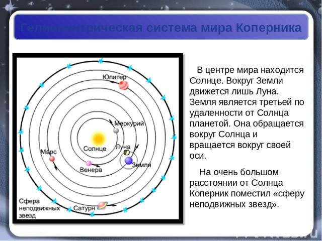 Гелиоцентрическая система мира Коперника В центре мира находится Солнце. Вокруг Земли движется лишь Луна. Земля является третьей по удаленности от Солнца планетой. Она обращается вокруг Солнца и вращается вокруг своей оси. На очень большом расстояни…