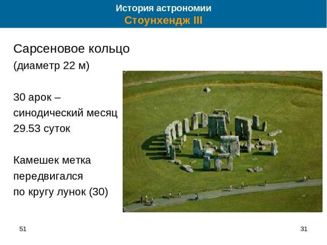 51 * Сарсеновое кольцо (диаметр 22 м) 30 арок – синодический месяц 29.53 суток Камешек метка передвигался по кругу лунок (30) История астрономии Стоунхендж III