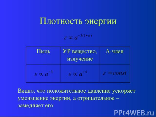 Плотность энергии Видно, что положительное давление ускоряет уменьшение энергии, а отрицательное – замедляет его Пыль УР вещество, излучение -член