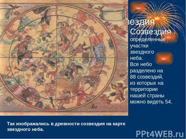 Созвездия Созвездия - определенные участки звездного неба. Все небо разделено на 88 созвездий, из которых на территории нашей страны можно видеть 54. Так изображались в древности созвездия на карте звездного неба.