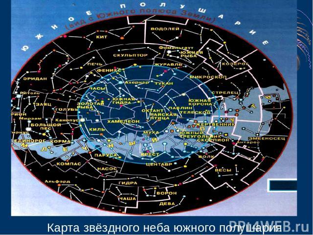 Карта звёздного неба южного полушария