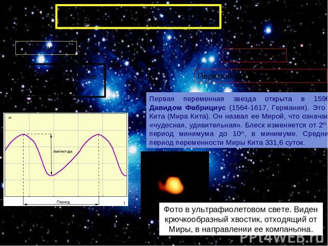 Физические двойные звезды Переменные звезды – это звезды, блеск которых изменяется. Периодически Первая переменная звезда открыта в 1596г Давидом Фабрициус (1564-1617, Германия). Это о Кита (Мира Кита). Он назвал ее Мирой, что означает «чудесная, уд…