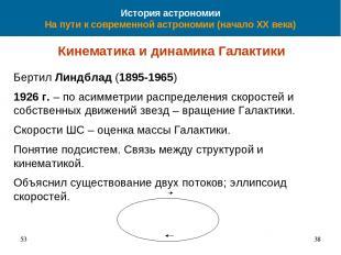 История астрономии На пути к современной астрономии (начало XX века) Кинематика
