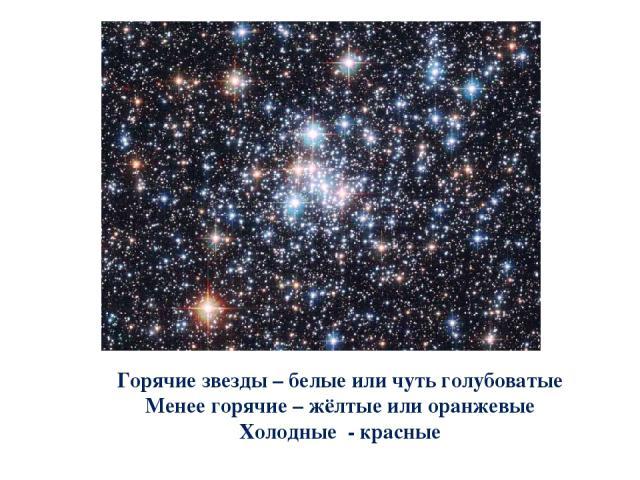 Горячие звезды – белые или чуть голубоватые Менее горячие – жёлтые или оранжевые Холодные - красные