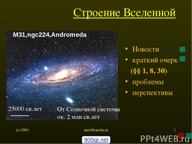 (c) 2001 mez@karelia.ru * Строение Вселенной Новости краткий очерк (§§ 1, 8, 30) проблемы перспективы M31,ngc224,Andromeda 25000 св.лет От Солнечной системы ок. 2 млн.св.лет 900igr.net mez@karelia.ru